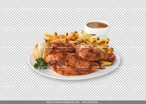 عکس بدون بکگراند مرغ سیب زمینی سرخ شده