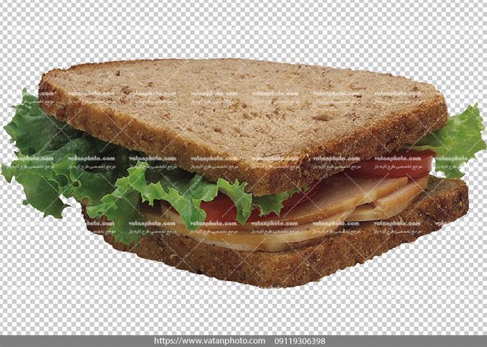 عکس بدون بکگراند ساندویچ ژامبون مثلثی
