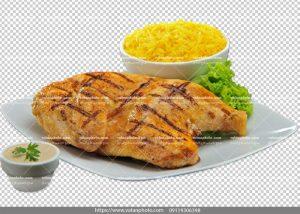 عکس بدون بکگراند مرغ سرخ شده برنج
