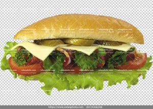 عکس ساندویچ بدون بکگراند کالباس و پنیر