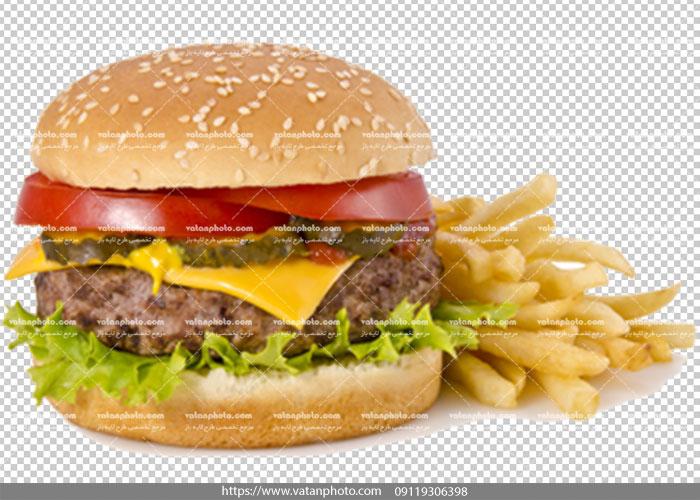 عکس ساندویچ همبرگر و سیب زمینی