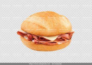 عکس بدون بکگراند ساندویچ گرد کالباس
