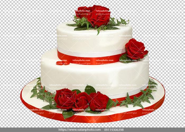 عکس بدون بکگراند کیک دو طبقه سفید