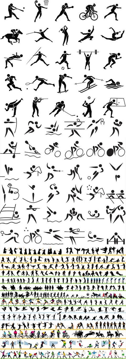 مجموعه وکتور سیاه سفید ورزشی AI و TIF