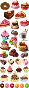مجموعه وکتور کیک شیرینی AI و TIF