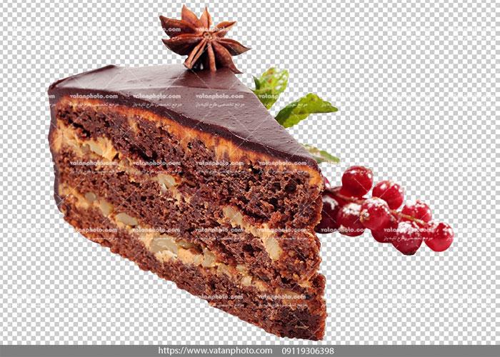 عکس بدون بکگراند برش کیک شکلاتی