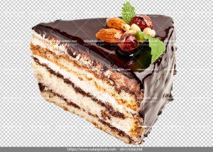 عکس بدون بکگراند تکه کیک شکلاتی