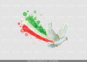 عکس بدون بکگراند پرچم ایران با کبوتر