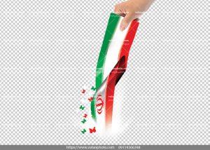 عکس بدون بکگراند پرچم ایران در دست