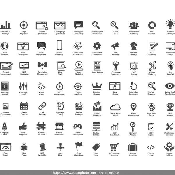 مجموعه وکتور سیاه سفید سئو AI و TIF