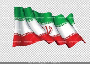 عکس بدون بکگراند پرچم ایران در باد