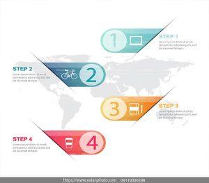 اینفوگرافی 4 مرحله ای خطی