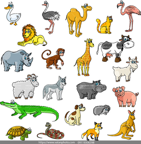 وکتور حیوانات فانتزی نقاشی AI و TIF