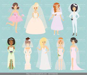 مجموعه وکتور عروس وکتور لباس عروس