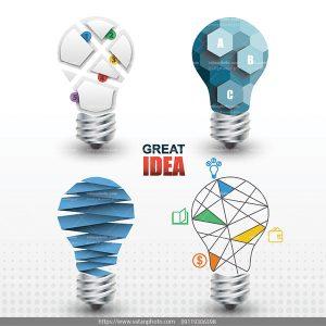 وکتور المان ایده چراغ لامپ
