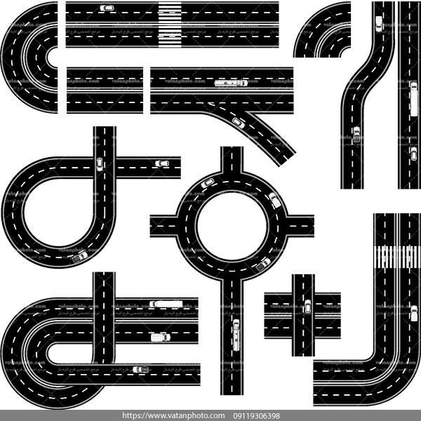 وکتور سیاه سفید جاده پل روگذر AI و TIF