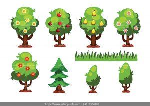 وکتور درخت گل وکتور درخت میوه