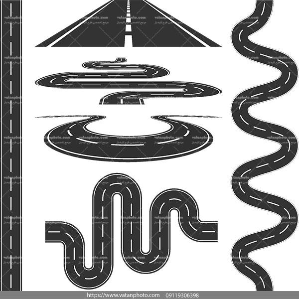 مجموعه وکتور سیاه سفید جاده AI و TIF