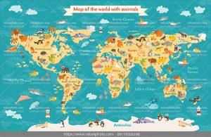 وکتور نقشه حیوانات قاره