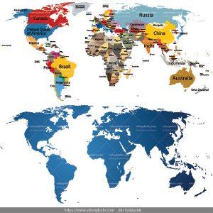 وکتور نقشه کشور در قاره