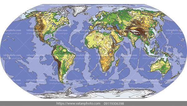 وکتور نقشه جهانی قاره اقیانوس