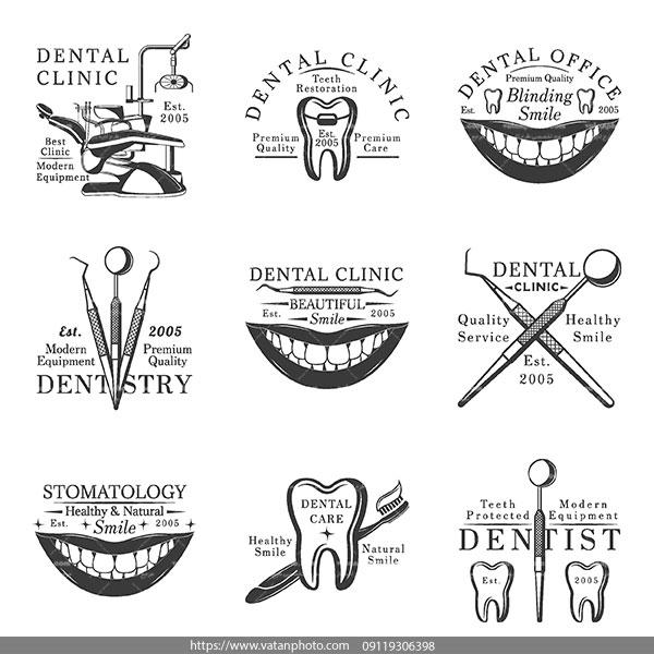 لوگو سیاه سفید دندانپزشکی دندان AI و TIF
