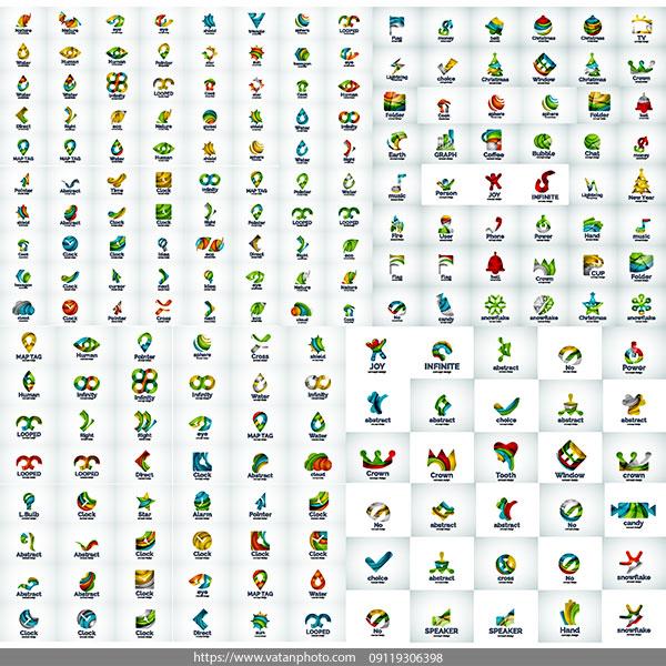 مجموعه 180 لوگو رنگی AI و TIF