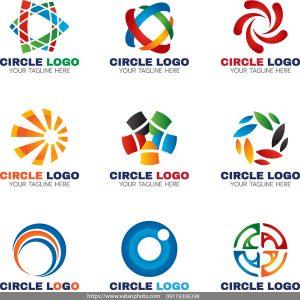 مجموعه 9 لوگو رنگی دایره ای AI و TIF