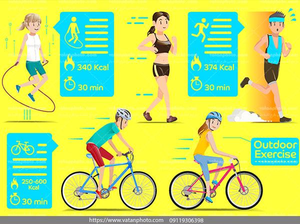 اینفوگرافی ورزشکار دونده دوچرخه سوار ai و tif