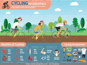 اینفوگرافی سلامت در دوچرخه سواری ai و tif