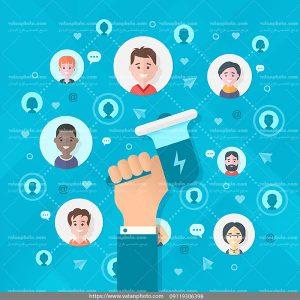 اینفوگرافی شبکه اجتماعی 1 ai و tif