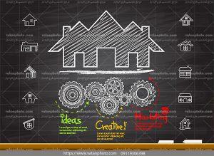 اینفوگرافی تولید مراحل فروشی خانه ai و tif