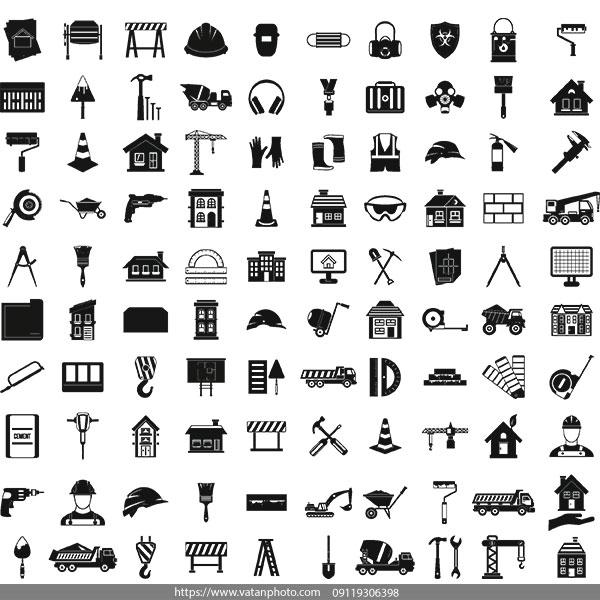 مجموعه وکتور ابزار آلات صنعتی AI و TIF