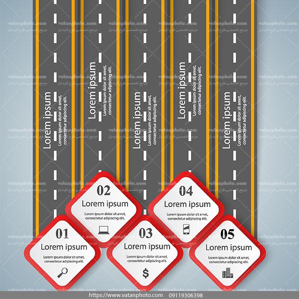 اینفوگرافی جاده علائم راهنمایی ai و tif