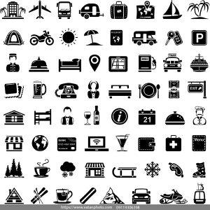 وکتور سیاه سفید مسافرتی گردشگری AI و TIF