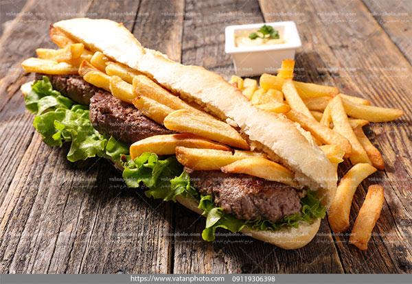 عکس ساندویچ همبرگر سیب زمینی