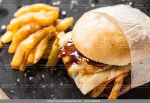 عکس ساندویچ چیزبرگر سیب زمینی