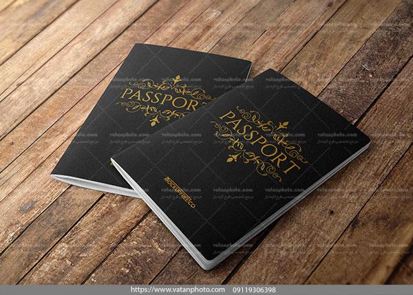 موکاپ جلد دو پاسپورت روی هم