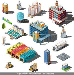 مجموعه وکتور سه بعدی ساختمان