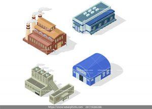 وکتور چهار ساختمان شرکتی سه بعدی