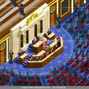 وکتور نمای از بالای مجلس