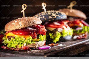 عکس ساندویچ همبرگر نان جو