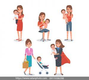 مجموعه وکتور مادر وکودک