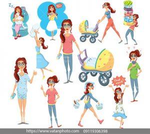 مجموعه وکتور زحمات مادرانه برای نوزاد