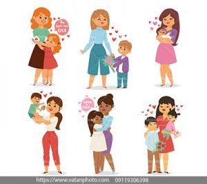 مجموعه وکتور فلت ابراز احساس مادر فرزند