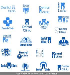 مجموعه وکتور لوگو دندانپزشکی آبی
