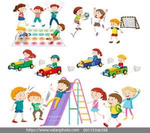 مجموعه وکتور مجتمع تفریحی کودکان