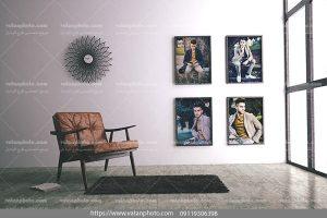 موکاپ 4 قاب عکس روی دیوار