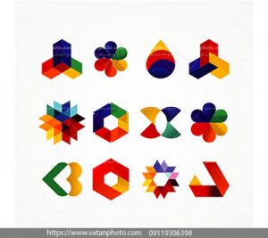مجموعه وکتور لوگو رنگارنگ