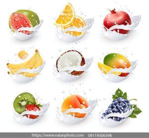 مجموعه وکتور آیکن شیر میوه طبیعی